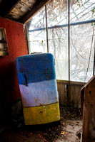A colorful refrigerator in an abandoned greenhouse