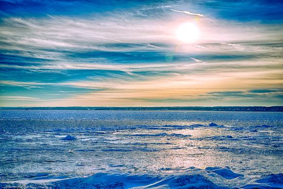 A frozen Seneca Lake in Geneva New York