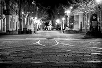 Ithaca Commons at night